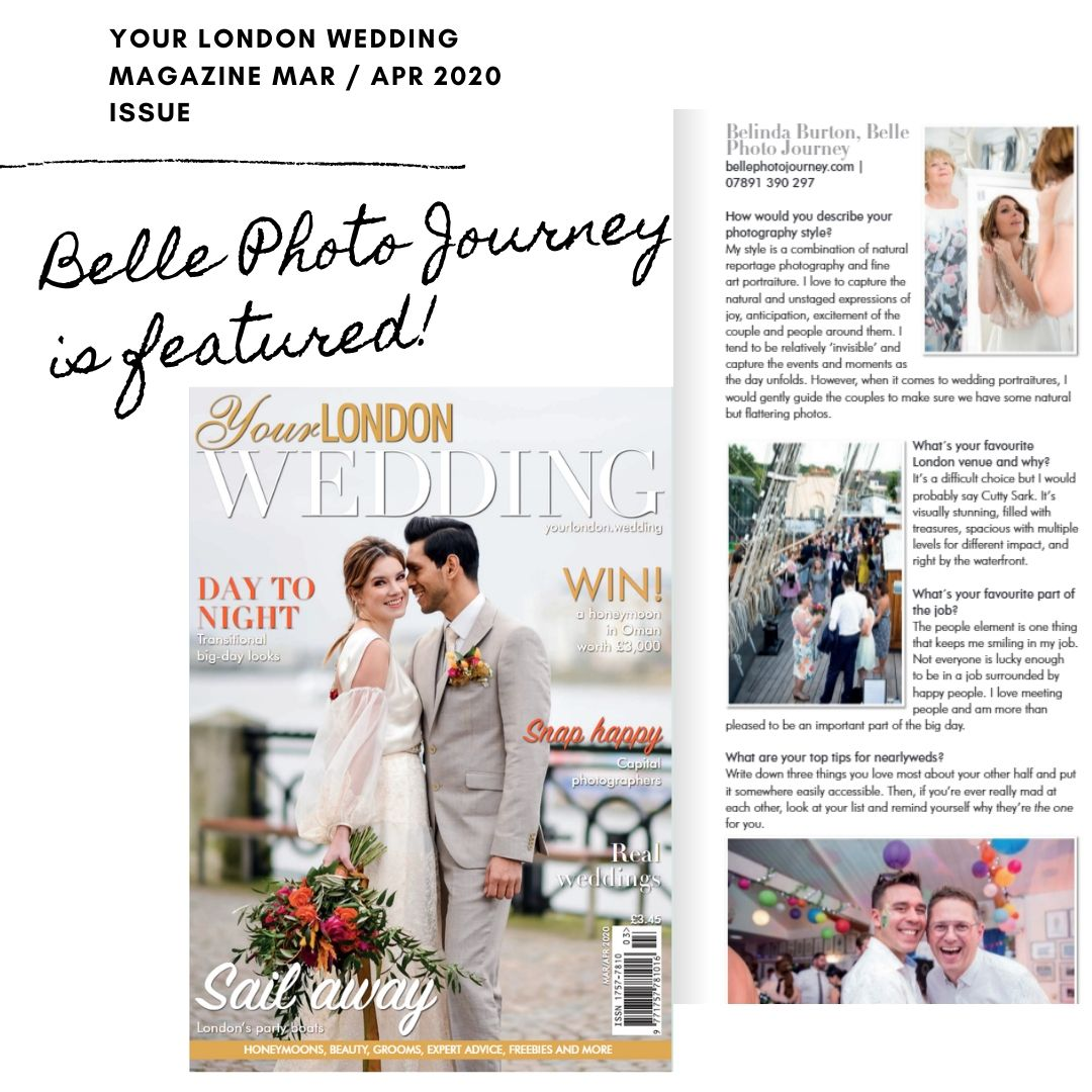 Belle Photo Journey featured in Your London Wedding Magazine