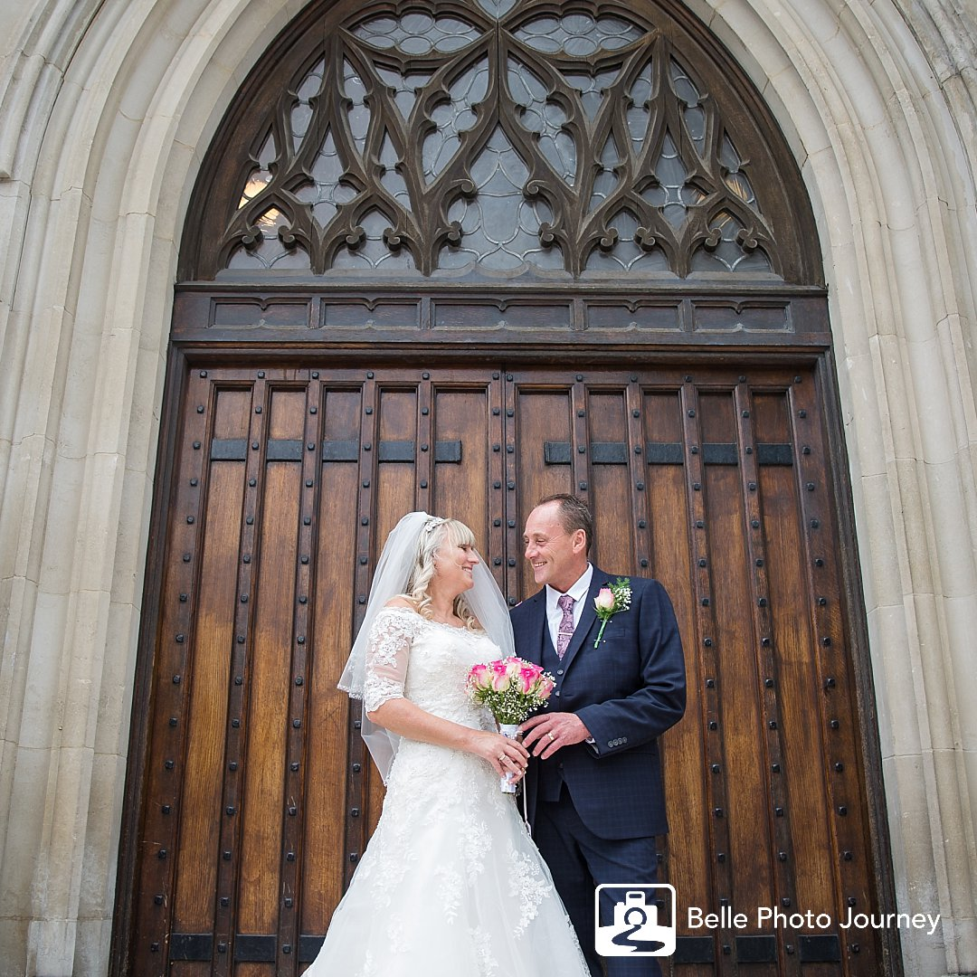 Wedding portrait at St Georges cathedral - central london