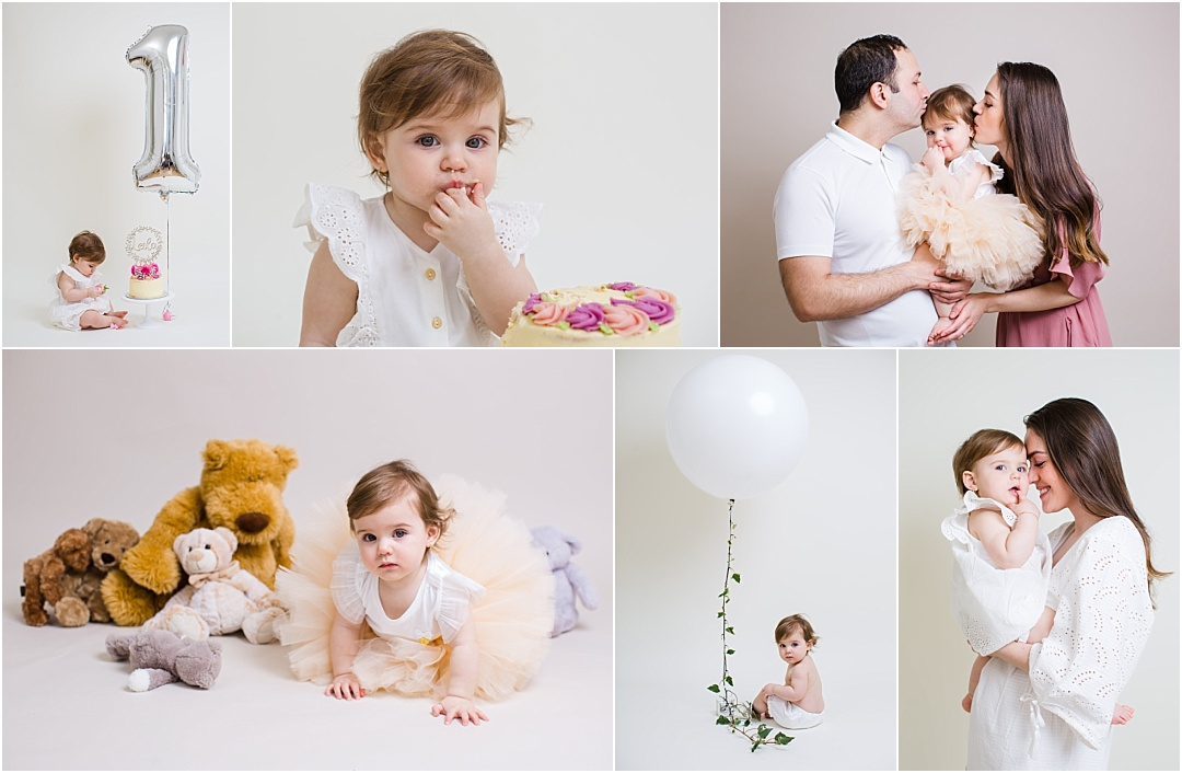 First birthday photo session cake smash collage photographer north london