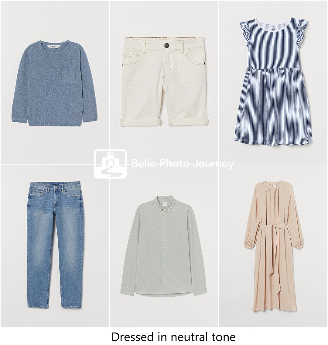 Neutral colour clothing for family of four